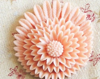 12 pcs of resin chrysanthemum cabochon-38mm-0255-24-tender pink