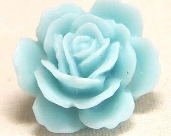 12   pcs of resin rose cabochon 20mm-20 more colors mixture-0054--30-aqua