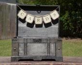 Rustic Wood Gray Card Box, Shabby Cottage Style Wedding, Treasure Chest Trunk, Keepsake Wedding Decor, Cards Banner