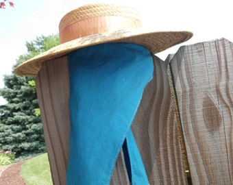 rare style 1960s straw hat with attached turquoise scarf Coney Island souvenir