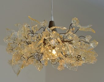 Lighting hanging chandeliers with Natural leaves and flowers for bedroom, Dining Room or children ceiling light.