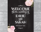 "Peony Flower Chalkboard Wedding Welcome Sign 18x24"" DIY Wedding Signage"