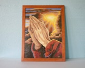 Paint By Number Praying Hands.  Religious Paint By Number. Vintage Mid Century Painting
