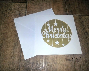 Merry Christmas paper cut card