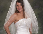 Light Ivory Two Layers Waist Length Wedding Veils Ivory Pencil Edge 2 Tier White Bridal Veil 30 Long 72 Wide Illusion