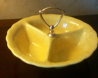 60s California Pottery/Yellow Divided Dish with Handle