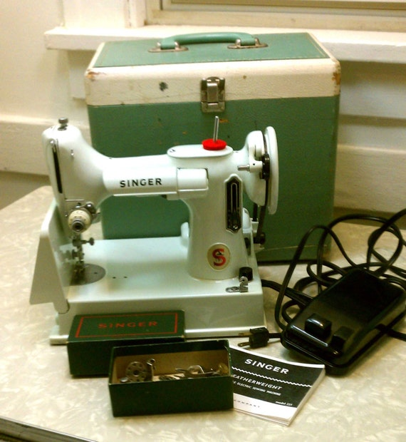 Vintage Singer Featherweight Portable Sewing Machine RARE White 221 K Model Mid Century Modern with Case & Extras