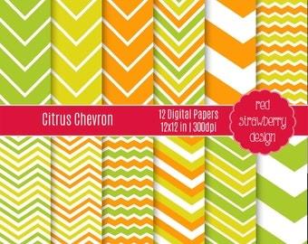 75% OFF Sale - Citrus Chevron - 12 Digital Papers - Instant Download - JPG 12x12 (DP140)