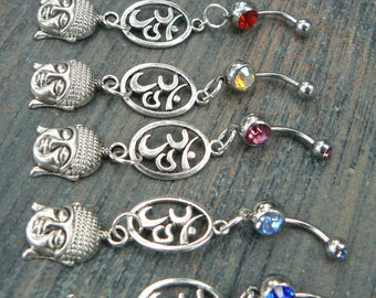choose 1 buddha ohm belly ring OVAL om buddah meditation in zen yoga Indie new age boho gypsy hippie belly dancer beach and hipster style