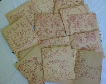 Lot of 12 Vintage Iron On Transfers Christmas Floral Children Home Etc.  Very Nice