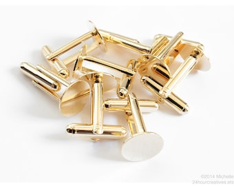 12mm Blank Cuff Links - Gold Plated Flat Pad Toggle-Style Cufflinks - Gold Finished Brass - Glue-on Customizable Bullet Cufflinks - Per Pair
