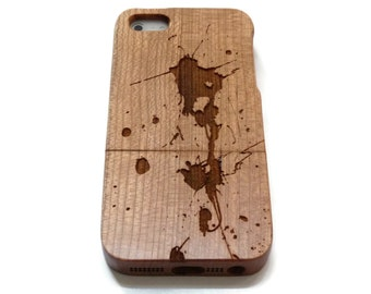 iphone 5 case  / iphone 5S case wood - wooden iphone 5 case bamboo, cherry and walnut wood - Paint splash