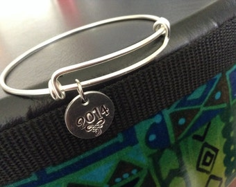 Antiqued silver charm bangle bracelet... Adjustable... Silver wire bracelet... Personalized charms