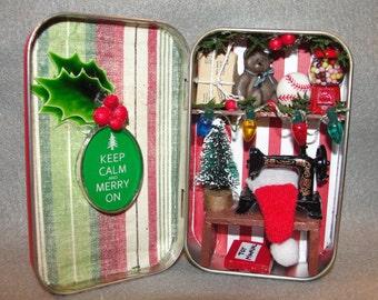 Santa's Workshop Christmas Holiday Shadow Box Tin Decoration