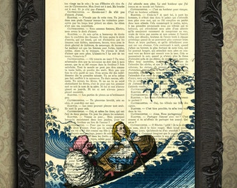Alice in wonderland fantasy print alice and a friend sailing across the atlantic art print
