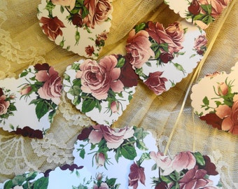 Victorian Rose Heart Die cuts Set of 10