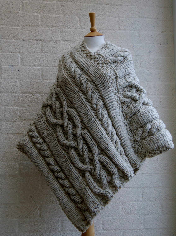 Merino Cape Knitting Pattern : Chunky knit Merino wool Poncho in Oatmeal/ Women Poncho/