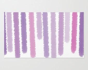Purple Striped Floor Rug - Throw Rug - Room Rug - Bathroom Decor - Made to Order