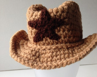 Cowboy Hat - Baby Photo Prop - Cowboy Baby - Buckaroo Baby - Handmade Crochet - Ready to Ship