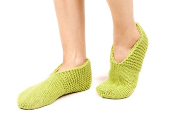 WOMAN SLIPPER SOCKS. Hand knitted from natural light green wool yarn. Great gift.