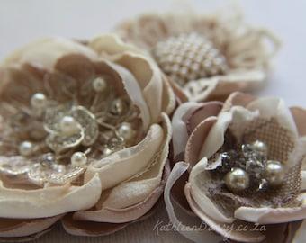 R300 Hair flower, Vintage lace, Dress sash, brooch corsage, belt accessory