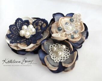 R300 Hair flower, Vintage lace, Dress sash, brooch corsage, belt accessory Navy blue wedding accessories
