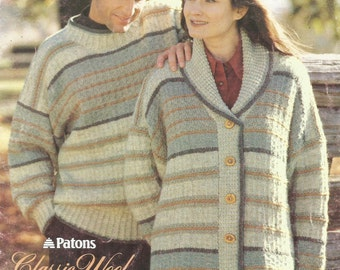 Couples Rustic Wool Sweater and Sweater Jacket - pdf pattern