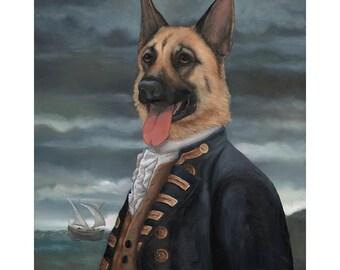 German Shepherd Canvas Print, Admiral George Shepherd, Nautical Dog, GSD