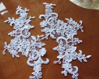 white Bridal Applique, Alencon Lace Applique, bridal headpiece applique, wedding applique, Bridal hair flowers accessories