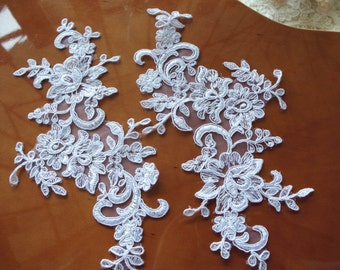 one pair white Bridal Applique, Alencon Lace Applique, bridal headpiece applique, wedding applique, Bridal hair flowers accessories