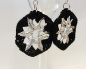 Black & Grey Crocheted Pop Tab Hexagonal Earrings