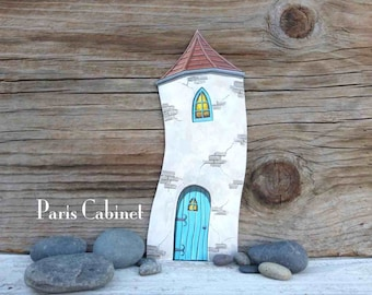 Crooked Tower Miniature Turret Fairy House Little People Tower Castle Tower Art Acrylic Painting on Wood