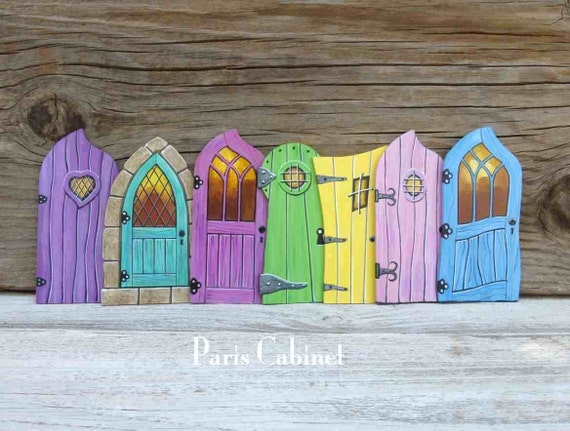Items similar to seven fairy doors miniature tooth fairy for Painted fairy doors