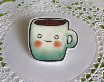 Coffee Brooch Coffee Pin Tea Pin Tea Brooch Cute Brooch coffee jewelry - Unique Boutonnière Coffee Jewellery Tea Jewellery