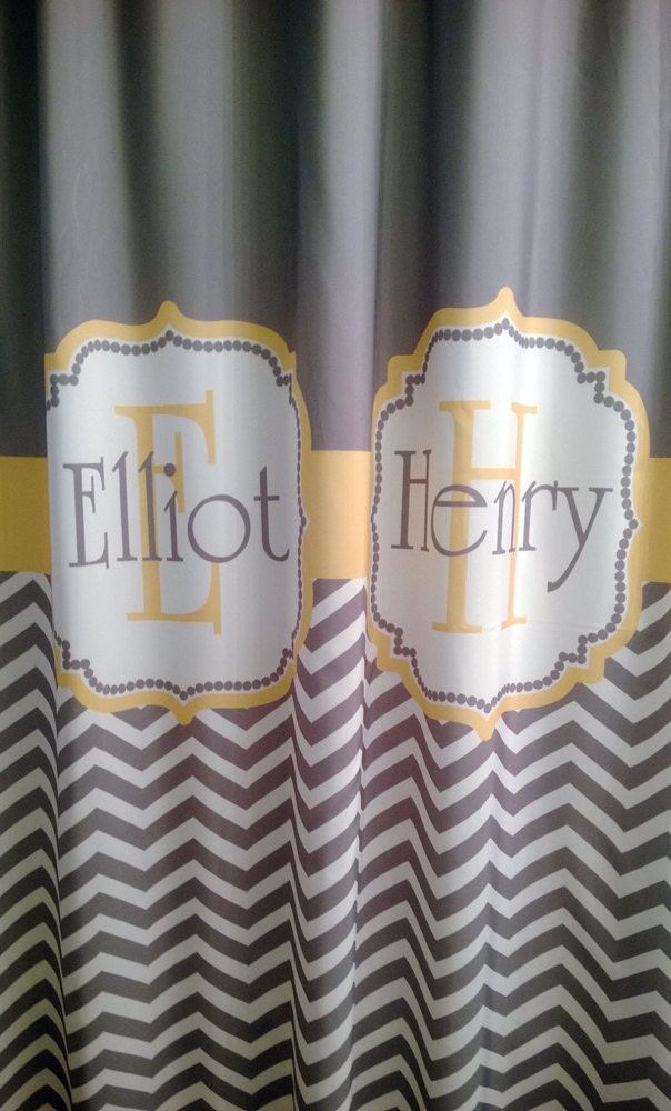 shower curtain chevron fabric you choose colors 70 74 78. Black Bedroom Furniture Sets. Home Design Ideas