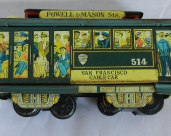 Friction Toy 1950s Tin San Francisco Cable Car