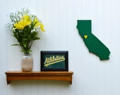 """Oakland A's """"State Heart"""" wall art, handcrafted wood with official team colors"""