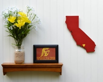 """USC Trojans """"State Heart"""" wall art, handcrafted wood with official team colors"""