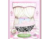 Zebra print bathtub art print, girl's bathroom art, teen decor , animal print decor, pink bath, bathroom decor, feminine bath, 8x10 print