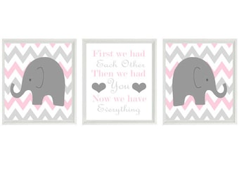 Elephant Nursery Art Prints  - Chevron Pink Gray Decor - First We Had Each Other Quote - Modern Baby Girl Room - Wall Art Home Decor