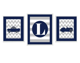 Vintage Car Art Print Set - Baby Boy Nursery Boy Room - Chevron Gray Navy Blue Personalized Initial - Transportation Wall Art Home Decor