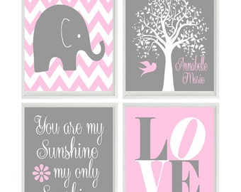 Elephant Nursery Art - You Are My Sunshine - Name Personalize Tree - LOVE - Gray Pink Wall Art - Baby Girl Modern Nursery Decor -