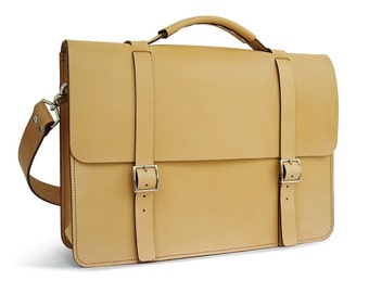 "SALE - Ready to ship - 16"" Messenger Bag / Briefcase, Veg-Tan Leather"