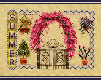 Cross Stitch Instant Download Pattern Summer. Counted Embroidery Chart Floral Iron Gate Arbor X Stitch Seasonal Turquoise Graphics & Designs