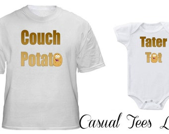Couch Potato Tater Tot Matching Set for Dad and Baby