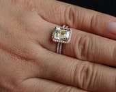 14k Rose Gold 9x7mm White Topaz Emerald Cut and Diamonds Engagement Ring and Wedding Band Set (Choose color and size options at checkout)
