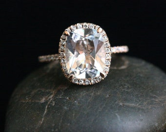 Rose Gold White Topaz Halo Ring in 14k with White Topaz Cushion 10x8mm and Diamonds (Also Available in White Gold)