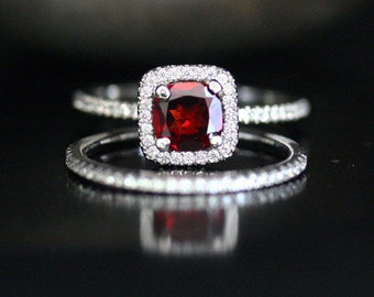 14k White Gold 6mm Crimson Red Garnet Cushion Single Halo Diamond Ring and Wedding Band set (Choose color and size options at checkout)