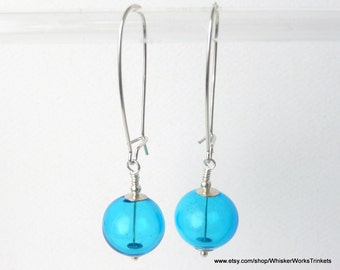 "Aqua Blown-Glass Earrings -- ""Bubbles"" -- Lightweight -- Sterling Kidney Ear Wires -- March Birthday Gift"
