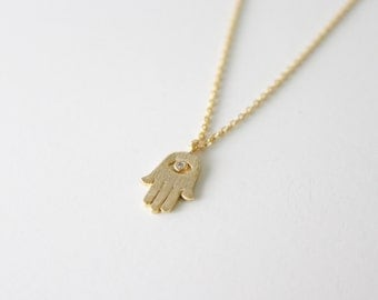 Hamza hand necklace - gold hamsa hand necklace